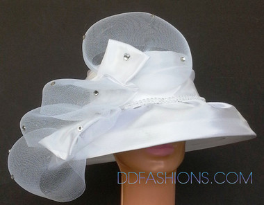 Low Brimmed White Ladies Hat Designed With Mesh