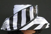 Striped Small Brimmed with Rhinestone Large Matching Bow