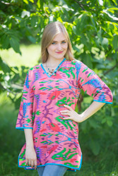 """Glam Tunics"" kaftan Top in Ikat Aztec pattern"