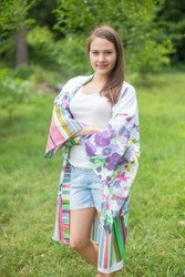 """Free Bird"" Kimono jacket in Floral Watercolor Painting pattern"