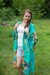 """Free Bird"" Kimono jacket in Large Floral Blossom pattern"