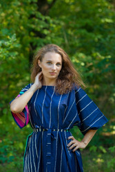 """Mademoiselle"" kaftan in Multicolored Stripes pattern"