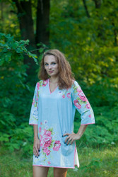 """Sun and Sand"" Beach Tunic in Cabbage Roses pattern"