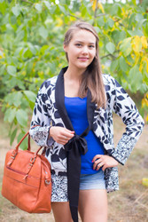 """Bow and Me"" Kimono jacket in Classic White Black pattern"