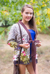 """Bow and Me"" Kimono jacket in Fun Leopard pattern"