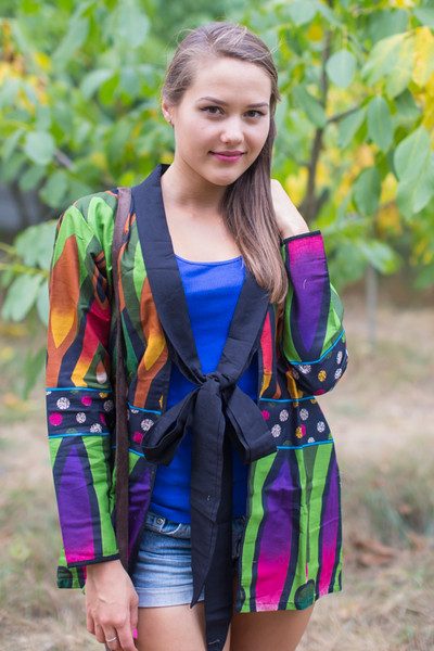 """""""Bow and Me"""" Kimono jacket in Glowing Flame pattern"""