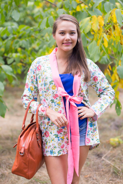 """""""Bow and Me"""" Kimono jacket in Happy Flowers pattern"""