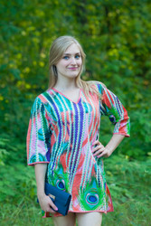 """Sun and Sand"" Beach Tunic in Peacock Plumage pattern"