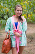 """Bow and Me"" Kimono jacket in Pink Peonies pattern"