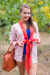 """Bow and Me"" Kimono jacket in Starry Florals pattern"