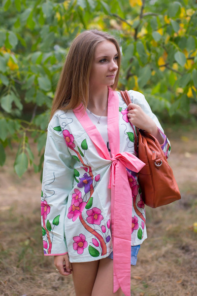 """""""Bow and Me"""" Kimono jacket in Swirly Floral Vine pattern"""