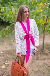 """Bow and Me"" Kimono jacket in Tiny Blossoms pattern"