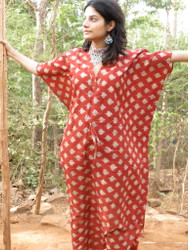"""Organic Au Naturelle"" Cinched Drawstring kaftan in Red Leafy pattern"