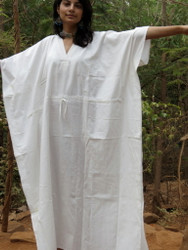 """Organic Au Naturelle"" Cinched Drawstring kaftan in Solid White pattern"