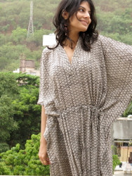 """Organic Au Naturelle"" Cinched Drawstring kaftan in White Black Leafy pattern"