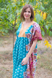 """Flowing River"" kaftan in Floral Bordered pattern"