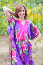 """Flowing River"" kaftan in Large Fuchsia Floral Blossom pattern"