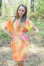 """Sunshine"" Tunic Dress kaftan in Batik Watercolor pattern"
