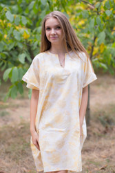"""Sunshine"" Tunic Dress kaftan in Ombre Fading Leaves pattern"