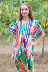 """Sunshine"" Tunic Dress kaftan in Peacock Plumage pattern"