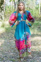 """My Peasant Dress"" kaftan in Vibrant Foliage pattern"