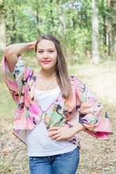 """Fly towards Glory"" Kimono jacket in Flamingo Watercolor pattern"