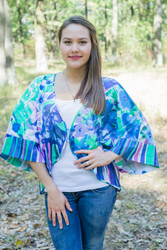 """Fly towards Glory"" Kimono jacket in Floral Watercolor Painting pattern"