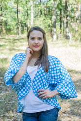 """Fly towards Glory"" Kimono jacket in Polka Dots pattern"