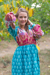 """Shape Me Pretty"" kaftan in Floral Bordered pattern"