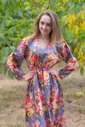 """Shape Me Pretty"" kaftan in Rosy Red Posy pattern"