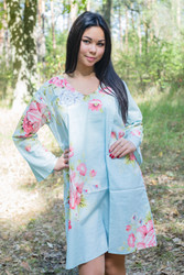 """Bella Tunic"" kaftan dress in Cabbage Roses pattern"