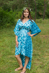 """High Low Wind Flow"" kaftan in Chevron Dots pattern"