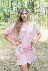 """Summer Celebration"" Tunic Dress kaftan in Cabbage Roses pattern"