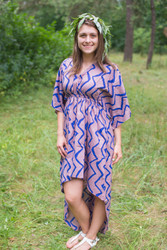 """High Low Wind Flow"" kaftan in Chevron pattern"