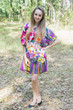 """Summer Celebration"" Tunic Dress kaftan in Floral Watercolor Painting pattern"
