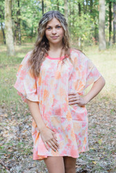 """Summer Celebration"" Tunic Dress kaftan in Ombre Fading Leaves pattern"