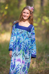 """Fire Maiden"" kaftan in Ikat Aztec pattern"