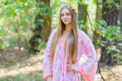 """Fire Maiden"" kaftan in Ombre Fading Leaves pattern"