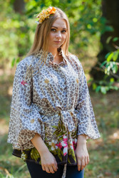 """Oriental Delight"" kaftan Top in Fun Leopard pattern"