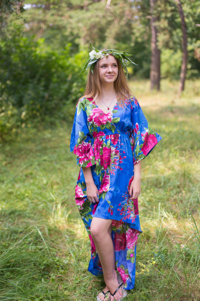 """""""High Low Wind Flow"""" kaftan in Large Fuchsia Floral Blossom pattern"""
