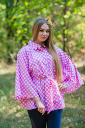 """Oriental Delight"" kaftan Top in Polka Dots pattern"