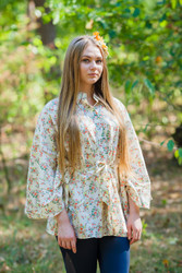 """Oriental Delight"" kaftan Top in Tiny Blossoms pattern"