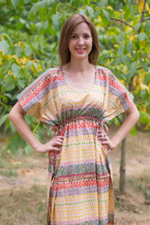 """Side Strings Sweet"" kaftan in Abstract Geometric pattern"