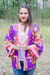 """Street Style"" Kimono jacket in Rosy Red Posy pattern"