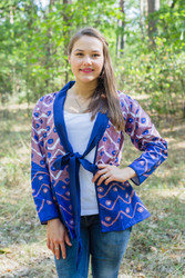 """Bow and Me"" Kimono jacket in Chevron Dots pattern"