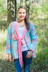 """Bow and Me"" Kimono jacket in Faded Flowers pattern"