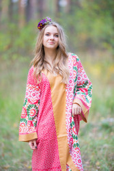 """The Glow Within"" kaftan in Round and Round pattern"