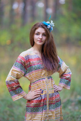 """""""Button me down"""" kaftan in Abstract Geometric pattern"""