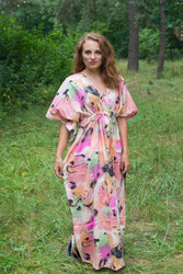 """Timeless"" kaftan in Flamingo Watercolor pattern"