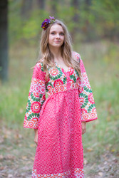 """Button me down"" kaftan in Round and Round pattern"